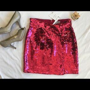 ASOS Tulip Sequin Mini Skirt in Hot Pink NWT